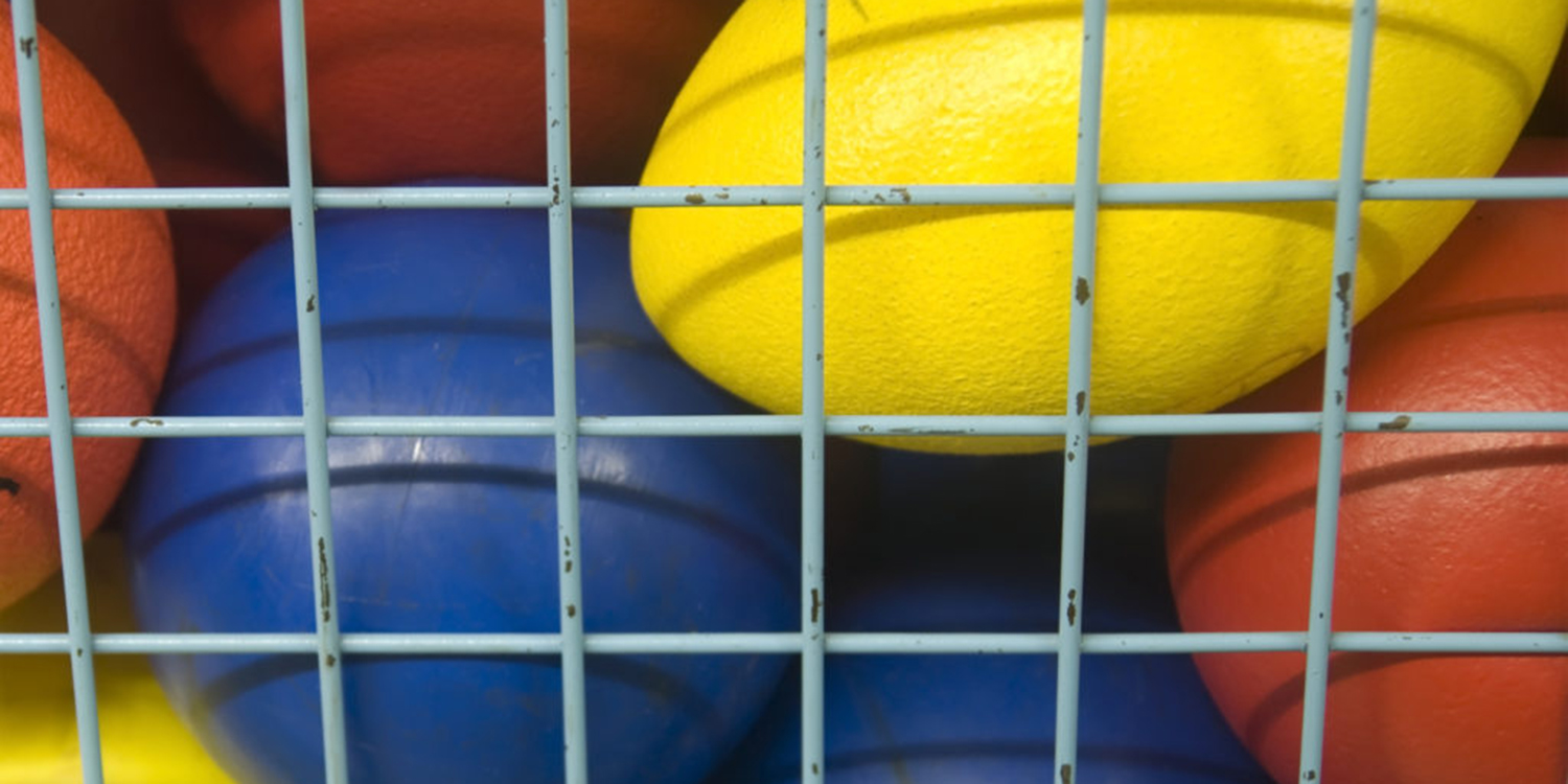 Athletic balls and sports equipment.